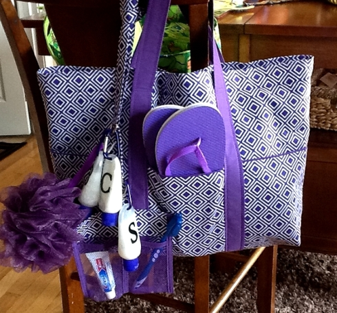Katies Purple Tote and Lanyard