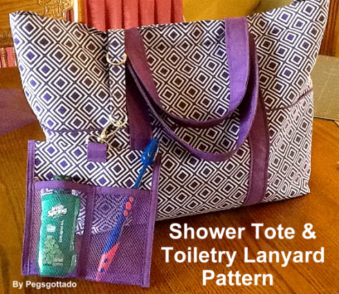 Shower tote and toiletry lanyard with text
