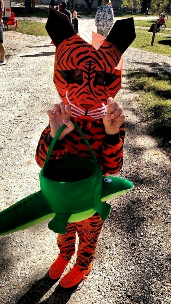 tiger costume and crocodile basket